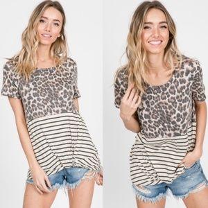 Leopard Print Stripes mix Short Sleeve Top